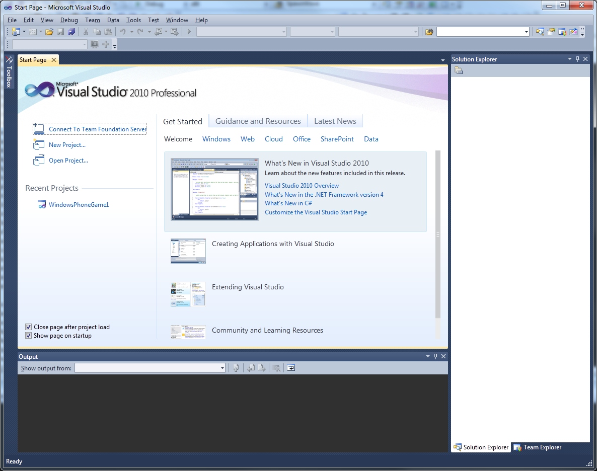 Visual Studio 2010 comes with .NET Framework 4 and supports developing
