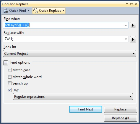 Find/Replace in Visual Studio using regular expressions